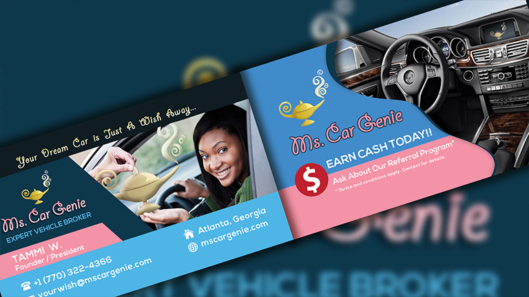 Ms. Car Genie Business Card