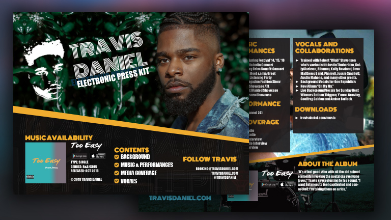 Travis Daniel Electronic Press Kit (EPK)